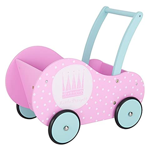 BIKESTAR® Kinder Holz Puppenwagen Lauflernfahrzeug für kleine Puppenmamas ab 18 Monaten ★ Natur Holz Edition ★ Flamingo Pink & Himmel Blau