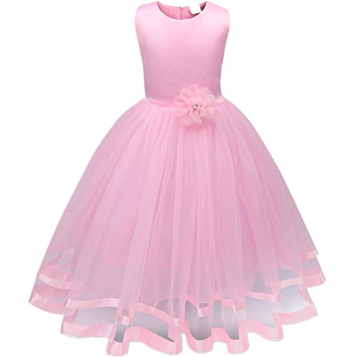 Mädchen Prinzessin Kleid Sannysis Blumenmädchenkleid Mädchen Prinzessin Kinderkleid Partykleid Tutu Tüll Kleid Party Brautkleid (Rosa-Prinzessin, 130)