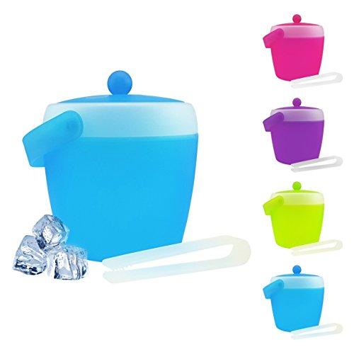 Eiswürfelbehälter mit Zange und Deckel - verschiedene Farben wählbar - Eiskübel - Eiseimer, Farbe:Blau