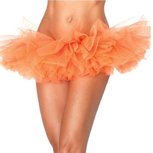 (Qmber Ostern Frühling Sommer Mini Tüllrock Shimmer Glam Pailletten verziert Tutu Sexy Festliche Kostüm mit Leopard/Orange,XL)
