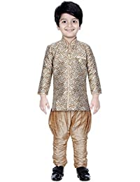 Divinee Beige and Golden Color Brocade Art Silk Sherwani Set for Boys with Paisley Self Design