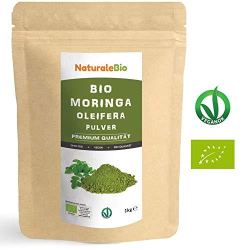 Moringa Oleifera Bio Pulver [ Premium-Qualität ] 1kg | Organic Moringa Powder, Original und Rein | Blätter des Moringa Oleifera Baum | Superfood Reich an Antioxidantien und Nährstoffen | NATURALEBIO (Aminosäuren, Die Nicht Gvo)