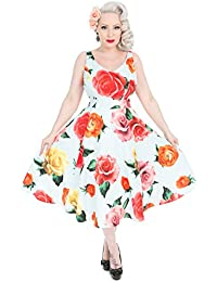 a8c909042331 Hearts & Roses London Oversize Flower Print Blue Vintage Retro 1950s Flare  Dress