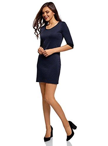 oodji Ultra Damen Jacquard-Kleid mit Geometrischem Muster Blau (2975J)