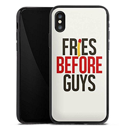 Apple iPhone X Silikon Hülle Case Schutzhülle Freundschaft Statement Sprüche Silikon Case schwarz