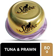 SHEBA Tuna and Prawn Domes Cat Food, Multipack, 24 x 80g