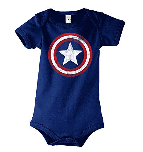 Baby Kurzarm Body Strampler Modell Vintage Captain America, Gr. 6-12 Monate, Navyblau