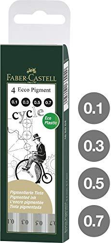Faber-Castell 166004 - 4er Set Tintenschreiber ECCO-PIGMENT, wasserfest, Inhalt: 0,1 mm, 3 mm, 5 mm, 7 mm, schwarz -