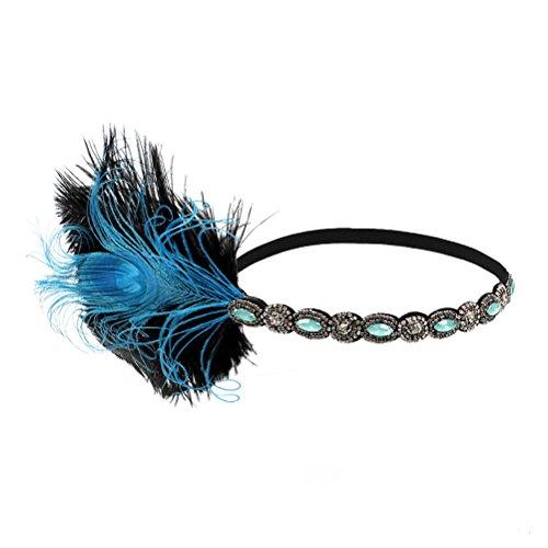 Stirnband Kostüm Pfau - LUOEM Damen Pfau Feder Flapper Stirnband Haarband 1920s Elastisch mit Strass für Party Hochzeit Burlesque Kostüm Accessoire (Blau)