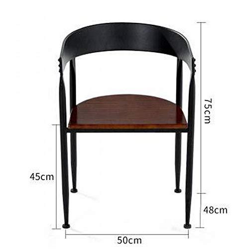 QiXian Loft Tisch und Stühle Café Freizeit Bar Kleine Runde Tisch Kombination Tee Shop Outdoor Clear Bar Zurück Massivholz Esstisch, Stuhl aus massivem Holz, 50 * 48 * 75 cm - Zurück Massivholz