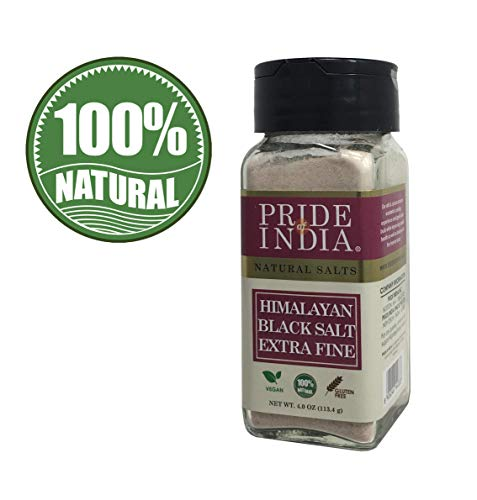 Pride Of India - Himalayan Black Rock Salt - Extra-Fine Grind, (4.0 oz, 113.4gm)- Kala Namak - Contains 84+ Minerals - Perfect for Cooking- BUY 1 GET 1 FREE (MIX AND MATCH - PROMO APPLIES AT CHECKOUT)