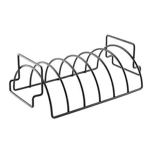 Prokth rib rack, barbecue net costole bistecca e supporto per arrosti, rib tacchini barbecue antiaderente per uso in fumatori/sulla parte superiore del gas e barbecue a carbone