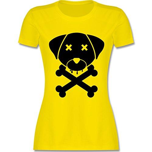 Shirtracer Hunde - Hund Skull - Damen T-Shirt Rundhals Lemon Gelb