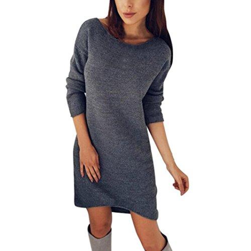 Damen Kleider, VEMOW Frauen Solid O-Neck Long Pullover Casual Langarm Kleid