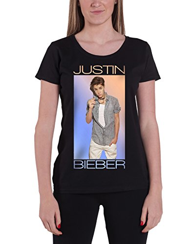 Justin Bieber T Shirt Colour Fade Purpose offiziell damen Nue Schwarz Skinny Fit (Frauen Caps Justin)