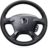 HCDSWSN Black Artificial Leather Car Steering Wheel Cover for Honda CR-V CRV 2002-