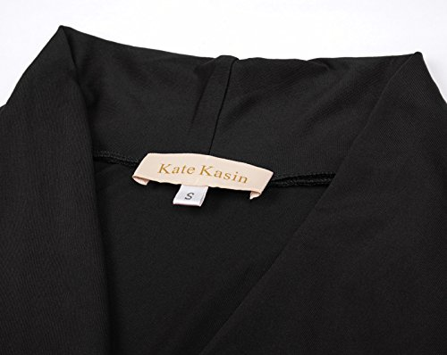 Kate Kasin Damen Langarm Shirt Blouse Fashion Bluse LM778 KK778-1(Schwarz)