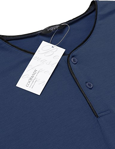 Coofandy Shirt Herren Langarm Grandad Slim Fit Sweatshirt Leder-Saum für Män Blau