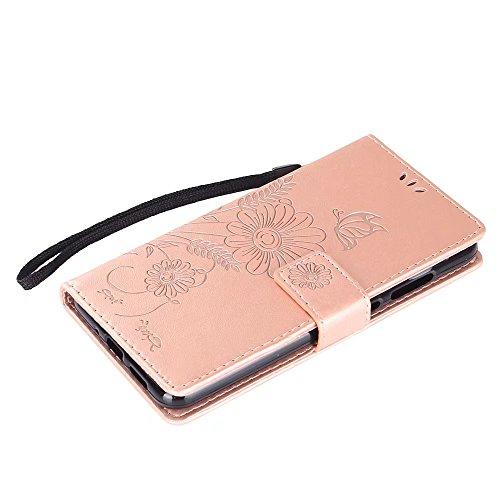 Premium PU Leder Folio Stand Case, Solid Farbe prägeartig Blumen Stil Schutzhülle Tasche Tasche mit Lanyard & Card Slots für Huawei P10 Mini (P10 Lite) ( Color : Modena ) Rose gold