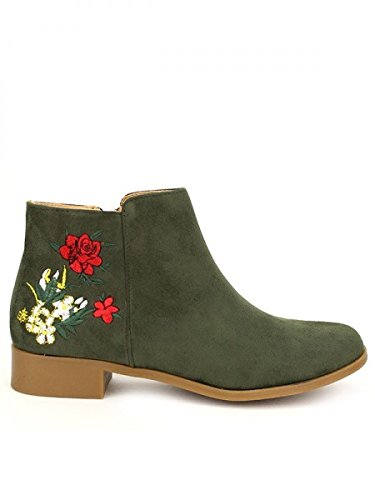 Cendriyon, Bottine Kaki C'M Flowers Chaussures Femme Kaki