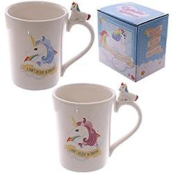 "'Lovely taza con ""unicornios en el mango"