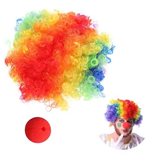 Lustige Clowns Kostüm - BESTOYARD Karneval Clown Perücke Nase Kostüm Sets Lustige Dekor Perücke Kreative Kopfschmuck für Karneval Cosplay Partei Liefert