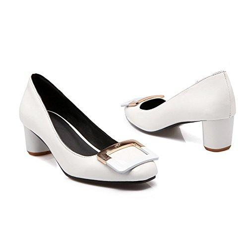 AllhqFashion Femme Tire Pu Cuir Carré à Talon Correct Mosaïque Chaussures Légeres Blanc