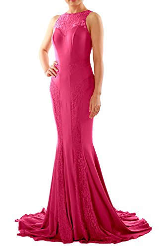 MACloth Women Mermaid Lace Boat Neck Jersey Long Formal Evening Dress Prom Gown Fuchsia