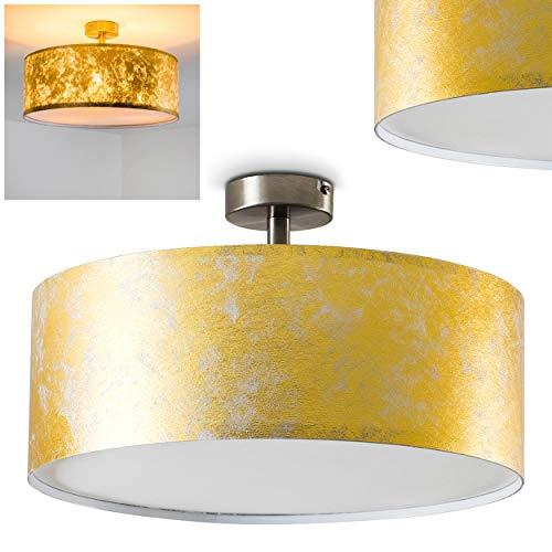 Deckenleuchte Foggia, runde Deckenlampe mit Lampenschirm aus Stoff in Gold/Weiß, Ø 40 cm, LED-fähig, 3 x E27-Fassung, 40 Watt, Retro-Design