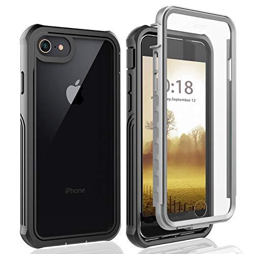 BESINPO iPhone 8 Hülle, iPhone 7 Hülle, iPhone 6s Hülle, Stoßfest Transparent Hülle 360 Rundumschutz mit Eingebautem Displayschutz Robust Bumper Handy hülle Schutzhülle für iPhone 8/7/6s
