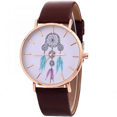 WLFPEG Mirar Relojes Casuales para Mujer Patrón De Atrapasueños De Moda Reloj De Cuarzo Correa De Cuero Reloj De Correa para Mujer