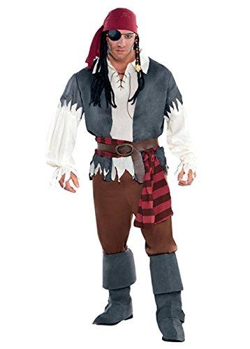 Magic Box Int. Erwachsenen Mens Captain Castaway Piraten-Kostüm M/L (Chest 40-42