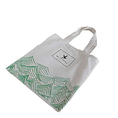 he Grüne Einkaufstasche Große Kapazität Waschbar Umhängetasche Handtasche Persönlichkeit Muster ()