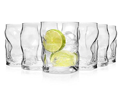 Bormioli Trinkglas Set 'Sorgente' 6 teilig | Füllmenge 420 ml | Gesamthöhe 11cm | Außergewöhnliches Universalglas für den täglichen Gebrauch oder besondere Momente