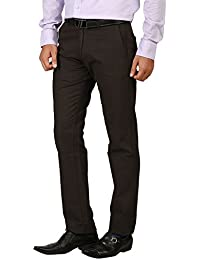 TIBRE Men's Cotton Slim Fit Trousers(0976_Brown_36)