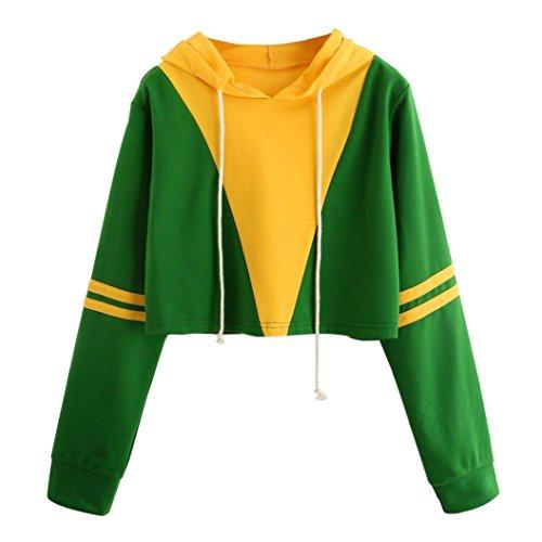 r, Lanowo Hoodie Patchwork Sweatshirt Baumwolle Oberteil Bluse (L, Grün) (Benutzerdefinierte Drawstring-tasche)