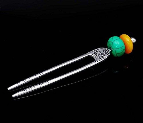 Banithani accessoire de bâton sculpté cadeau épingle à cheveux de bijoux à la main de style vintage ethnique pour elle argent-2