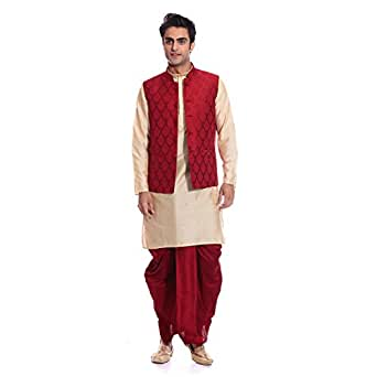 Tag 7 Men's Silk Blend Kurta Dhoti With Jacket Sets (KDJ05_Gold_44)