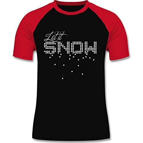 Weihnachten & Silvester - Let it snow Schneeflocken - zweifarbiges Baseballshirt für Männer Schwarz/Rot