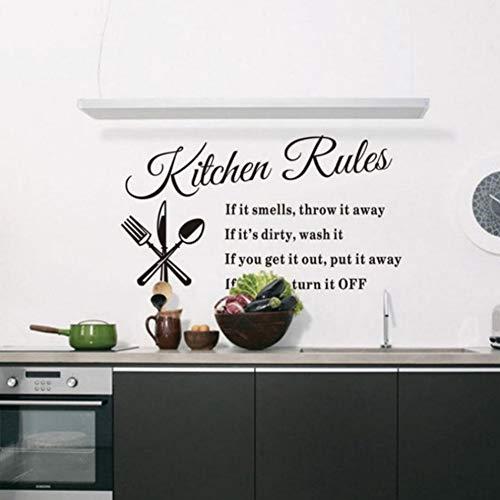 Yzybz Küchen Wandaufkleber Küche Regeln Wörter Zeichen Aufkleber Selbstklebend Home Decor Vinyl Kunstwand