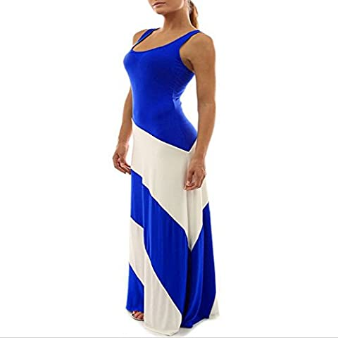 RYCJ-Round neck dress sleeveless women striped dress blue M