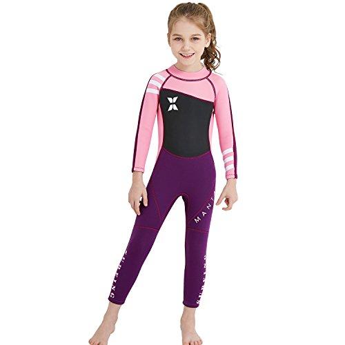 GWELL Mädchen Kinder Neoprenanzug 2.5MM Neopren Langarm Warmhaltung Tauchanzug Badeanzug Wetsuit für Wassersport Schwarz-Rosa S
