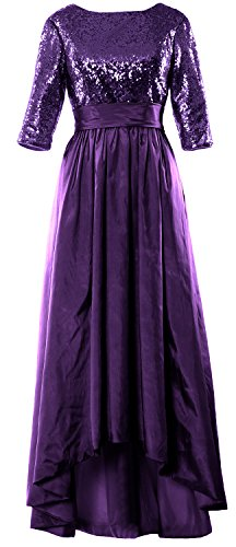 MACloth Women 3/4 Sleeve Sequin Taffeta High-Low Prom Dress Party Formal Gown purple