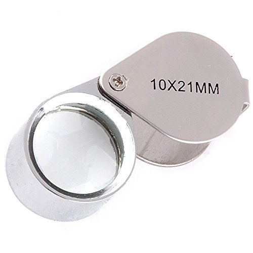 RotSale® 10 Fach Silber Lupe Vergrößerungsglas Feingehaltsstempel Augenlinse 10 x 21mm Jeweler Schmuck Uhrmacher Lupe Glas Taschenlupe