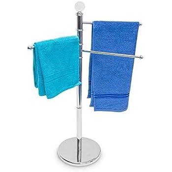 MSV Handtuchst/änder Ella mit 3 beweglichen Handtuchstangen f/ür Badet/ücher und andere Textilien Handtuchhalter in Edelstahl mit schwenkbaren Stangen auch als Kleiner Kleiderst/änder schwarz matt