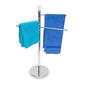 Relaxdays 10019262 93.5 cm, Base Diameter 29 cm Stainless Steel Hand Towel Stand, Chrome/Silver