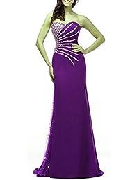 emmani Mujer Vestido de chifón de larga sin tirantes vestido de fiesta vestido de dama de