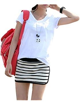 Las Mujeres Verano Camiseta de manga corta V-cuello Blusa Casual Camiseta Tops M Blanco