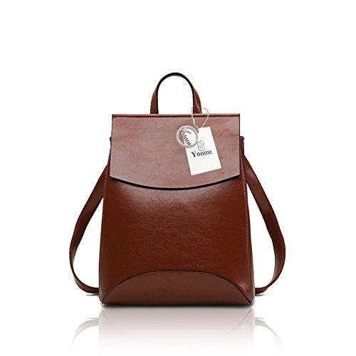 Yoome Vintage Soft Leder Rucksack Schultertasche Campus Bookbag für Frauen (Rucksack Bookbag)