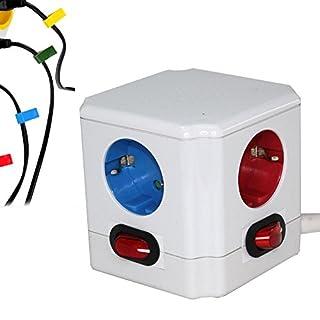 FISHTEC ® Cube Multiprise Couleur - Interrupteur pour Chaque Sortie - Stickers - Normes NF